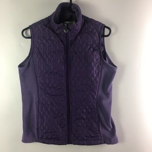 Dressbarn Quilted Fleece Lined Vest Purple Medium.